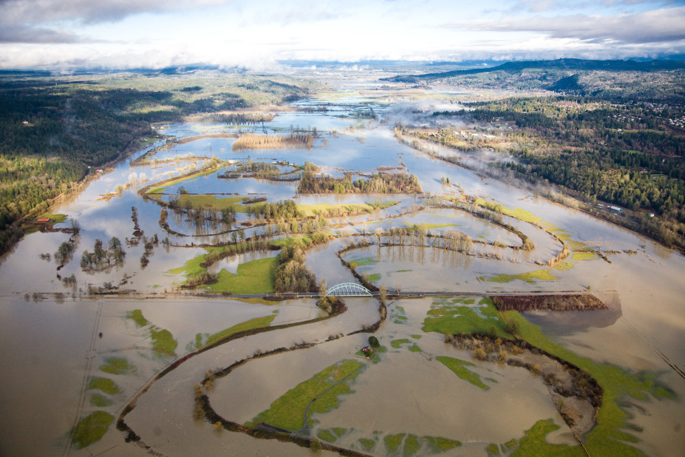 Aerial view of the flooded Snoqualmie River, the river overflows the landscape.