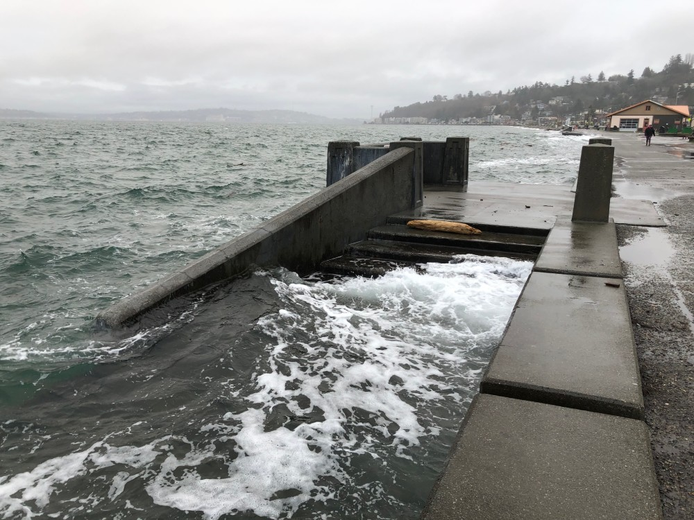 Water from Puget Sound hit the top step of the beach access steps during a King Tide event.