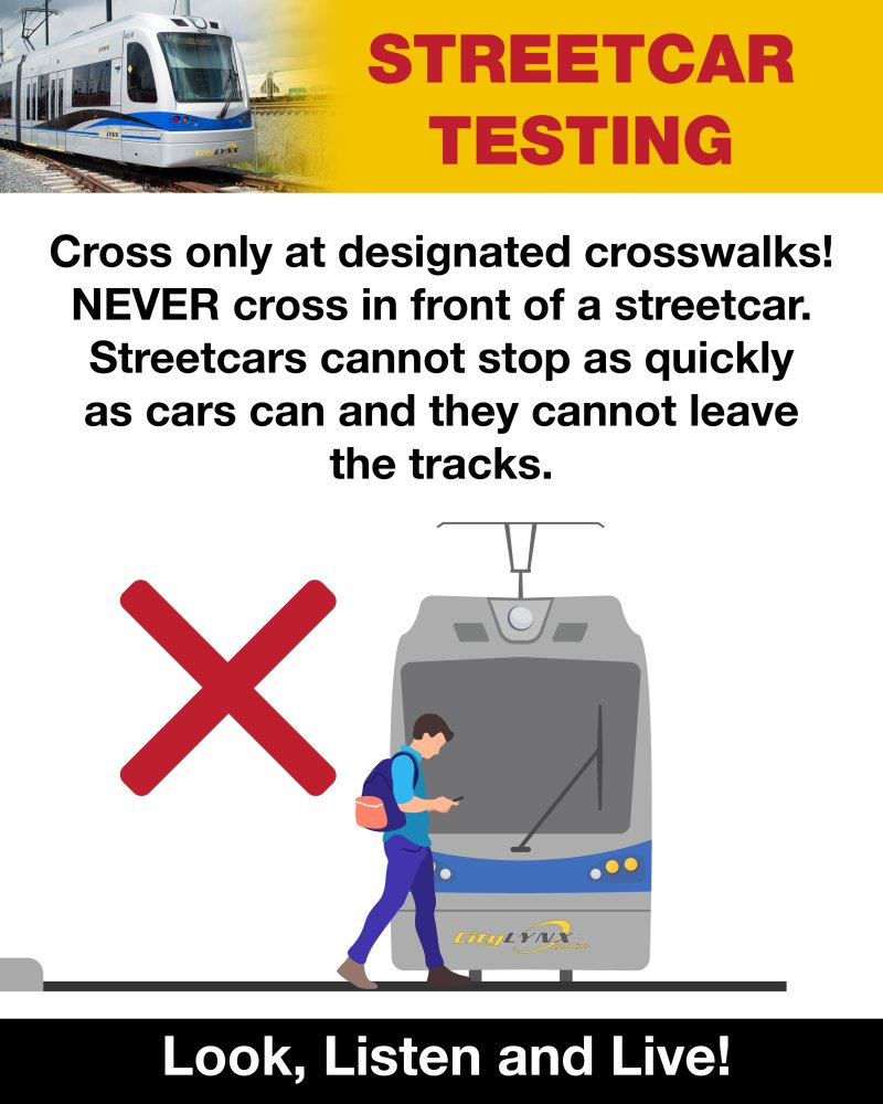 Cross only at designated crosswalks! NEVER cross in front of a streetcar. Streetcars cannot stop as quickly as cars can, and they cannot leave the tracks.