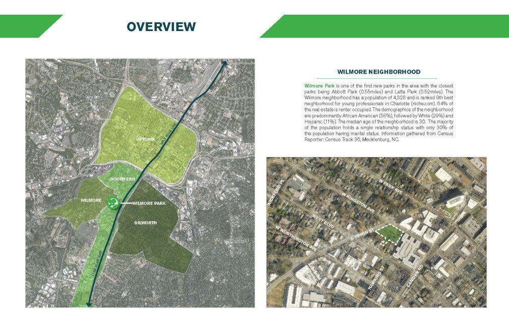 Image of a map that shows the location of Wilmore Centennial Park with text about the neighborhood.