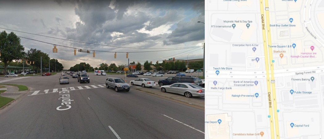 Spring Forest Rd: Would you be willing to give up some ability to enter nearby parking lots and business entrances if it would allow you to drive through this intersection more easily?
