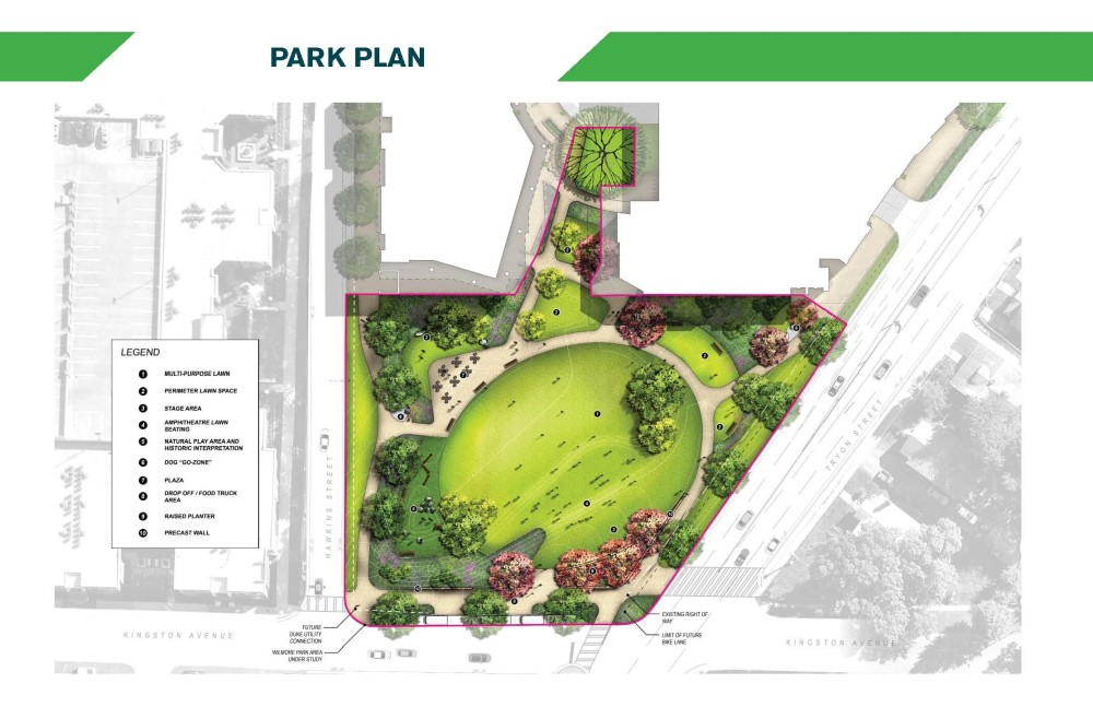 Image of a map that shows the design for Wilmore Centennial Park in plan view.