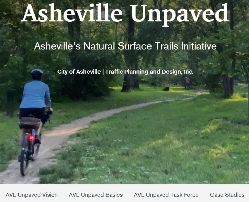 Image of the landing page for the Asheville Unpaved StoryMap