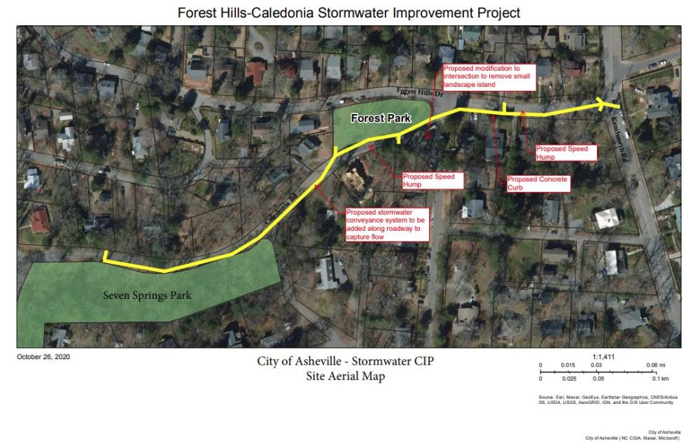Forest Hill Road - Caledonia Road Stormwater Project map